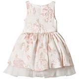 David Charles Pale Pink Lurex Floral and Tulle Dress