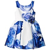 David Charles Blue and White Satin Fit and Flare Dress