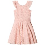 David Charles Pink Lace Frill Sleeve and Back Detail Dress