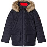 Poivre Blanc Navy Down Padded Ski Jacket with Faux Fur Hood
