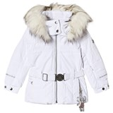 Poivre Blanc White Belted Faux Fur Hood Ski Jacket with Embroidered Back