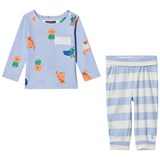 Joules Blue Lion Print Tee and Stripe Bottoms Set