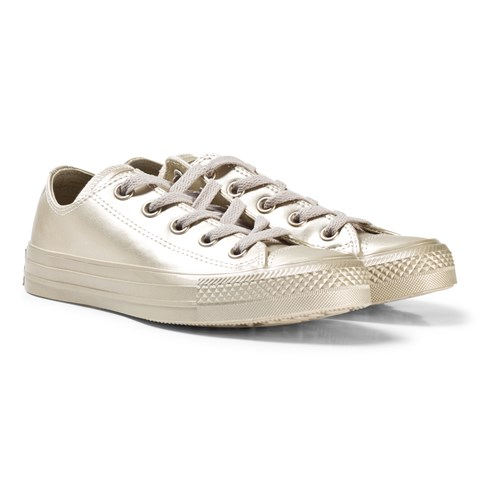 0c949bb862f Converse Gold Junior Chuck Taylor All Star Leather Trainers ...