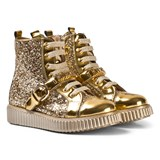 Moschino Gold and Patent Glitter Branded High Top Boots