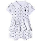 Ralph Lauren White with Navy Spot Bubble Babygrow