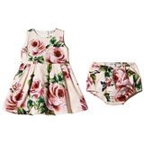 Dolce & Gabbana Pale Pink Rose Print Jersey Dress and Bloomers Set