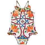 Dolce & Gabbana Blue and Orange Majolica Print Frill Swimsuit