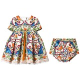 Dolce & Gabbana Blue and Orange Majolica Print Cotton and Lace Dress with Knickers