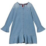 Tommy Hilfiger Blue Denim Frill Sleeve Dress