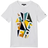 Tommy Hilfiger White Geometric Branded T-Shirt