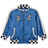 Stella McCartney Kids Blue Embroidered Eastwood Bomber Jacket with Check Trims