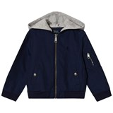 Ralph Lauren Navy Cotton Nylon Bomber Hooded Jacket