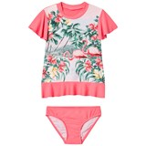 Seafolly Pink Hawaiian Rose Rashie Set