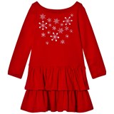 Lands' End Red Embellished Snowflakes Ruddle Tired Dress