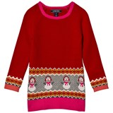 Lands' End Red Happy Snowman Oversized Sweater