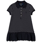 Ralph Lauren Navy White Dots Short Sleeve Polo Dress with Eyelet Skirt