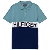 Tommy Hilfiger Navy and Blue Branded Polo Shirt
