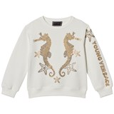Young Versace White with Gold Sequin Seahorse Sweater