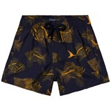 Vilebrequin Navy and Gold Skeleton Fish Print Swim Shorts