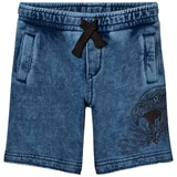Diesel Blue Acid Wash Jersey Shorts with Eagle Print