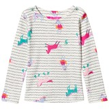 Joules Cream Stripe and Horse Print Jersey Long Sleeve Tee