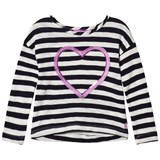 Joules Navy Stripe Embellished Heart Long Sleeve Jersey Tee