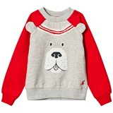 Joules Grey Marl and Red Sleeve Dog Face Sweatshirt