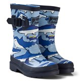 Joules Blue Shark and Stripe Printed Wellies