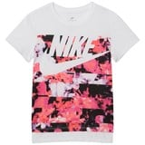 Nike White and Pink Printed Hyperfade Sportswear Tee