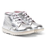 Kickers Silver Leather Kick Hi Boots
