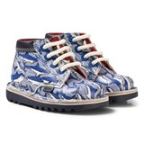 Kickers Blue and White Shark Leather Kick Hi Boots