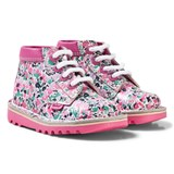 Kickers White and Pink Kickers x Joules Leather Floral Kick Hi Boots