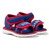 Dolce & Gabbana Blue and Red Branded Velcro Sandals