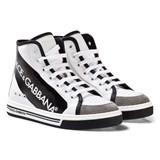 Dolce & Gabbana White and Black Tape Logo Branded Zip High Tops