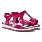 Dolce & Gabbana Fuchsia Patent Leather Branded Sandals with Bow