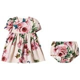 Dolce & Gabbana Pale Pink Rose Print Dress and Bloomers Set
