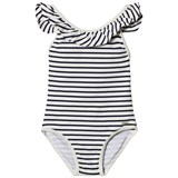 Chloé One-Piece Black and White Striped Ruffle Branded Swimsuit