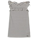 Chloé Black and White Striped Sailor Collar Jersey Dress