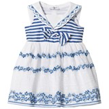 Monnalisa White and Blue Embroidered and Broderie Anglaise Floral Sailor Dress