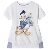 Monnalisa White Donald Duck and Broderie Anglaise Dress