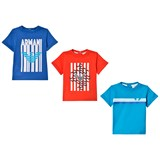 Armani Junior Pack of 3 Blue, Red and Navy Logo Print Tees
