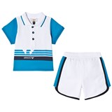 Armani Junior Blue and White Logo Tee and Shorts Set