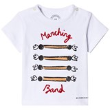 Burberry White Marching Band Print Tee