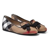 Burberry Beige Classic Check Shoes with Bow Details