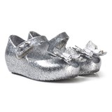 Mini Melissa Silver Glitter Butterfly Shoes
