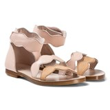 Chloé Light Pink Scallop Cut Out Leather Sandals
