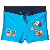 Little Marc Jacobs Blue Retro Print Swim Trunks