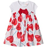 Catimini White and Red Heart Lollipop Short Sleeve Dress with Glitter Bow