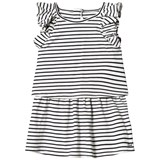 Chloé Black and White Striped Frill Shoulders Jersey Dress
