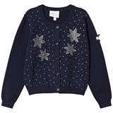 Le Chic Navy Diamante Flower Cardigan